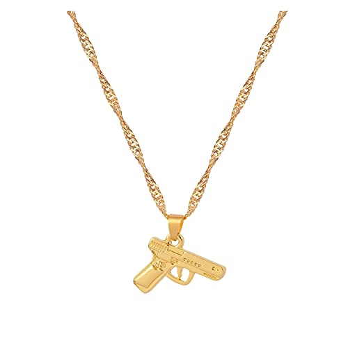 DSJTCH 2021 Minimalista Pistola Colgante Collar Collar de Oro Cadena de Onda Hip Hop Hop Hop Collares Gargantilla Fiesta Regalo (Metal Color : Gun)