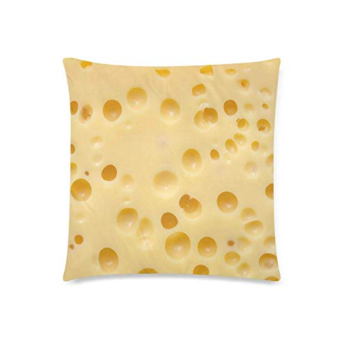 INTERESTPRINT Funny Food Texture of Yellow Cheese Emmental Cushion Case Pillow Cover with 18x18 Inch Zippered Decorative Pillowcase for Bedroom Sofa