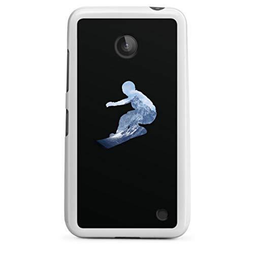 DeinDesign Silikon Hülle kompatibel mit Nokia Lumia 630 Dual SIM Case weiß Handyhülle Snowboard Winter Sport