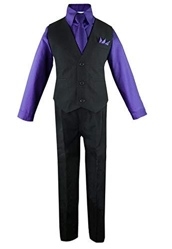 Luca Gabriel Toddler Boys' 4 Piece Vest Shirt Tie Pant and Hanky Set Purple - 2t