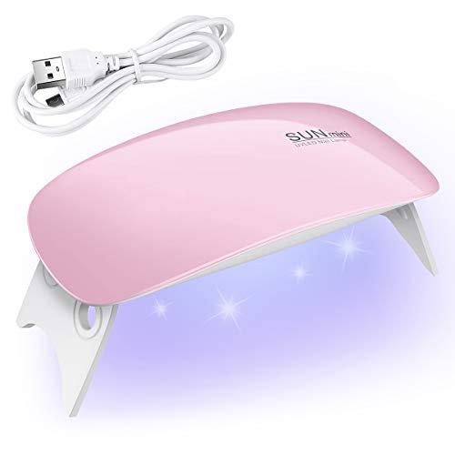YoungRich Mini 6W LED Lampara Uñas UV Secador de Uñas para Unas de Gel 2 Ajustes de Tiempo 45s y 60s,para Unas de Gel manicura Shellac Gel Esmalte de Uñas Manicura Pedicure(Rosa)