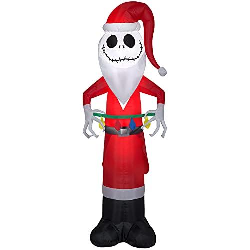 Gemmy 5.5' Christmas Inflatable Jack Skellington Holding Christmas Lights Indoor/Outdoor Decoration