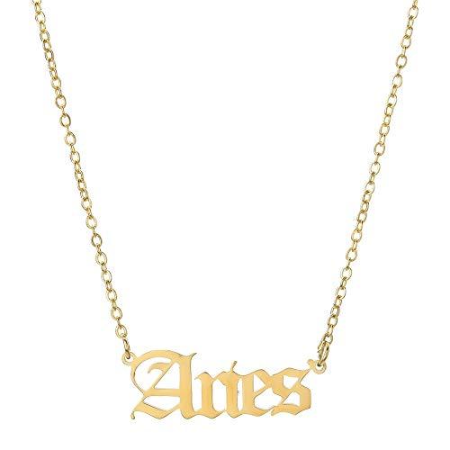 Collar de oro con signo del zodiaco Procon Zodiac Sign Necklace cadenas para hombre y mujer (Aries)