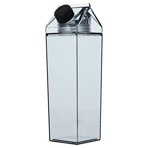 Cabilock Milchkarton Wasserflasche 500Ml Plastik Milchbox Saftflasche Klare Milchflaschen Tragbare Wasserflasche Schwarz