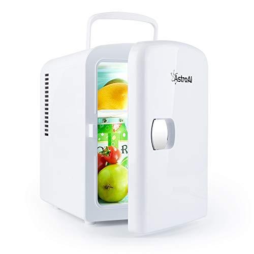 AstroAI Mini Frigo de Chambre, Mini Réfrigérateur Voiture Portatif 4L 12V/220V, Glacière Électrique Chaud/Froid 0-66°C, Cadeau Femme Homme Garantie 3 Ans(Blanc)
