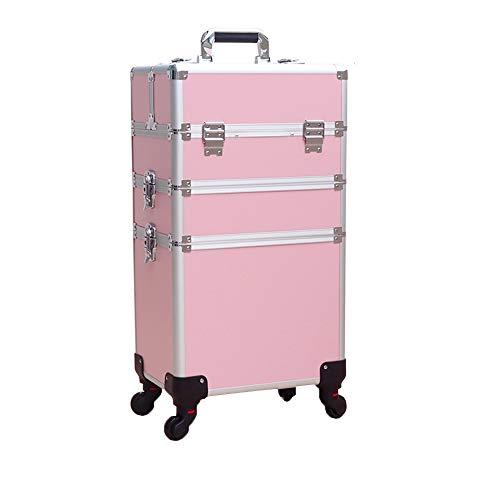 Storage Box Caisse cosmétique de Chariot de Train d'ongle, Le Chariot Roulant Professionnel de beauté en Alliage d'aluminium de Grande capacité 4 en 1 Peut verrouiller la boîte de Rangement