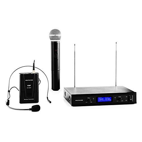 AUNA Pro VHF-400 Duo 3 - Set Radiomicrofono VHF a 2 Canali con Microfono a Mano e Auricolare, 50m Raggio d Azione, Riduzione del Rumore Interno, Nero