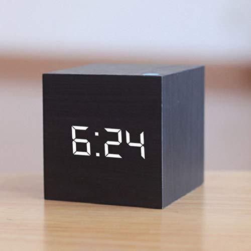 Tenglang Digitaler Wecker Holz LED Wecker USB/Batteriebetriebene Temperaturanzeige Elektronische Sprachsteuerung Tischuhren Steuerung Schlummerfunktion Desktop Tischdekoration (Schwarz)