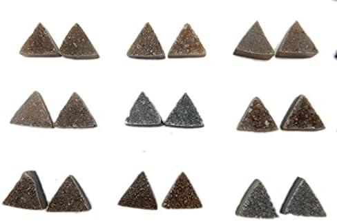 Dark Triangle Druzy Pair Cheap bargain 10mm Shaped Beautiful - depot