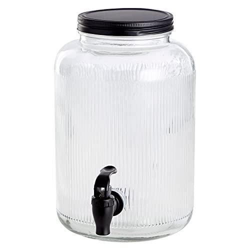 Dispensador de bebidas de 4 L, diámetro 16 x altura 25,5 cm, XL, dispensador de agua, recipiente de cristal, grifo transparente, diseño escandinavo
