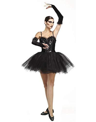 shoperama Disfraz gótico de bailarina negra de cisne para mujer, corpiño, tutú, mangas de Halloween, talla M