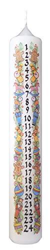 Meissner-Handel - Auswahl - Weihnachtskerze/Adventskerze/Adventskalender 4 x 24 cm weiß (001) - jeden Tag EIN Stückchen abbrennen - Auswahl Motiv