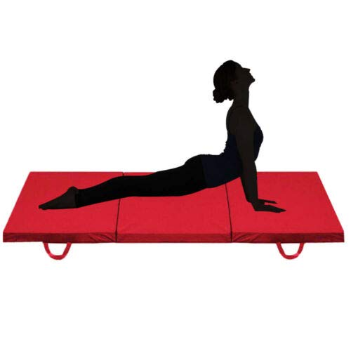 SSAN Tri Folding Exercise Yoga Mat Fitness Pilates Physio Crash Water Proof Gym Workout Camping Non Slip 2 Thick Red 6ft x 2ft