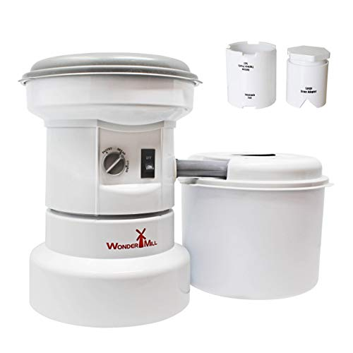 Grain Grinder with Flour Canister, Small Grains and Large Beans Attachment Combo - Flour Milling Machine for Home and Professional Use - Self-cleaning Electric Grain Mill Grinder by WonderMill