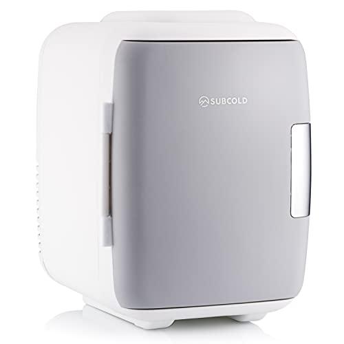 Subcold Classic4 Mini Fridge - Cooler & Warmer   4 Litre/6 Cans   AC+USB   Portable Small Fridge for Skincare, Bedroom, Dorm, Car, Caravan (White/Grey)