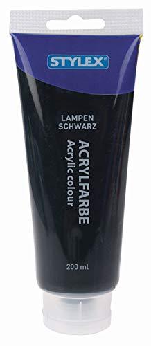 Stylex Peinture acrylique à base d'eau Tube de 200 ml, Couleur : noir, 200ml