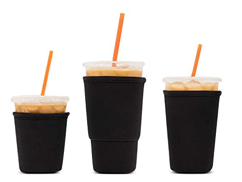 3 Pack Reusable Iced Coffee Sleeves - LOVAC Insulator Sleeve for Cold Beverages, Neoprene Cup Holder - Starbucks Coffee sleeve, McDonalds Coffee sleeve, Dunkin Coffee sleeve,More (Black)