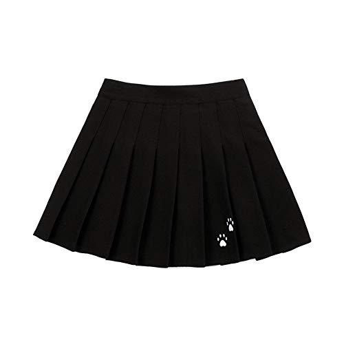 Falda plisada de cintura alta con cintura elstica para mujer primavera y otoo, principios de la primavera para mujer, nueva escuela de viento, faldas bordadas de verano (color: negro, tamao: M)