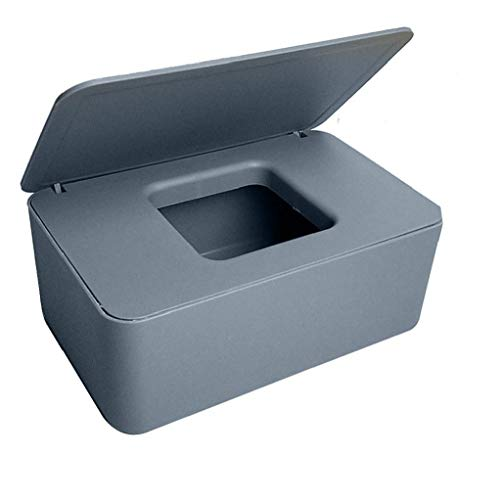 Caja de almacenamiento de tejidos de bebé, toallitas secas de tejido húmedo titulares de papel caja de plástico con tapas de la servilleta del dispensador para Ministerio del Interior gris