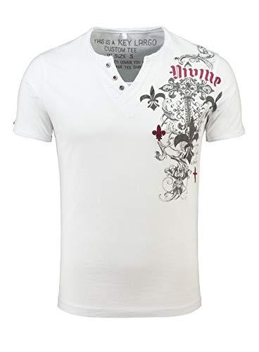 KEY LARGO Herren T-Shirt Knight Button Printshirt Slim Fit Schnitt V-Ausschnitt mit Knöpfen Knopfleiste MT00287, Grösse:M, Farbe:Weiß