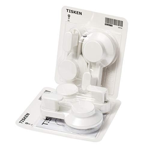Ikea TISKEN Haken mit Saugnapf; in weiß; 4 Stück