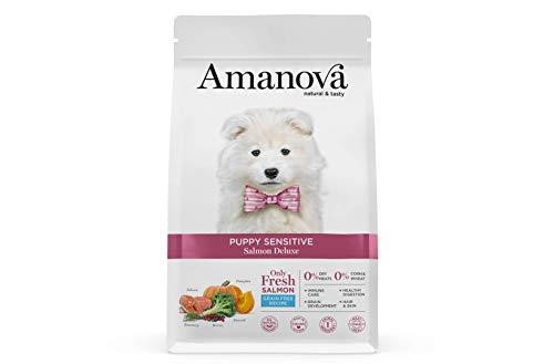 Amanova Cibo Secco Super Premium per Cuccioli con Pelle e Pelo sensibili Gusto Salmone - 100% Naturale, ipoallergenico e monoproteico - Grain Free - Cruelty Free - Formato da 2 kg