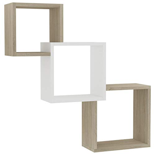 vidaXL Cube Wandregal Hängeregal Bücherregal Regalwürfel Cube Lounge CD DVD Regal Schweberegal Wand Deko Weiß Sonoma-Eiche 84.5x15x27cm Spanplatte