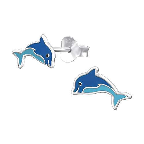 Monkimau Orecchini bambina Orecchini a forma di delfino realizzati in argento sterling 925