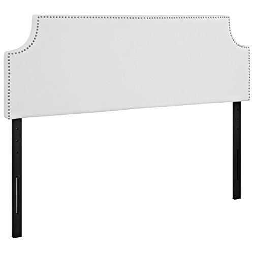 Modway Laura Vegan Leather Upholstered Queen Size Headboard with Nailhead Trim in White