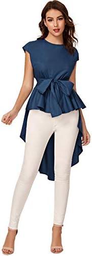Romwe Women s Asymmetrical High Low Ruffle Blouse Self Tie Party Tops Dark Blue Medium product image