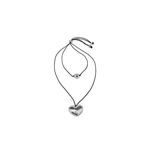 collana donna vestopazzo Vestopazzo AL02801 - COLLANA 2 fili con sfera e cuore di alluminio riciclato e doppio filo cerato