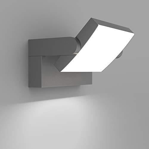 Klighten 24W LED Lámpara de Pared Exterior Interior IP65, Luz de Pared Ajustable, Moderno Apliques de Pared Aluminio para Entrada Jardines Terraza Sala, Blanco Frio 5700K-6000K, Gris Oscuro