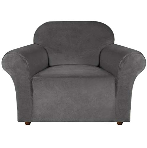 E EBETA Samt-Optisch 1 Sitzer Sofabezug Spandex Couchbezug Sesselbezug, Elastischer Antirutsch Sofahusse für Wohnzimmer Hund Haustier Möbelschutz (Grau)