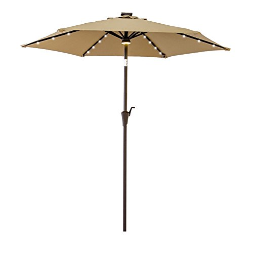 FLAME&SHADE 7.5 ft Outdoor Patio Table Market Umbrella with Solar LED Lights and Tilt - Beige
