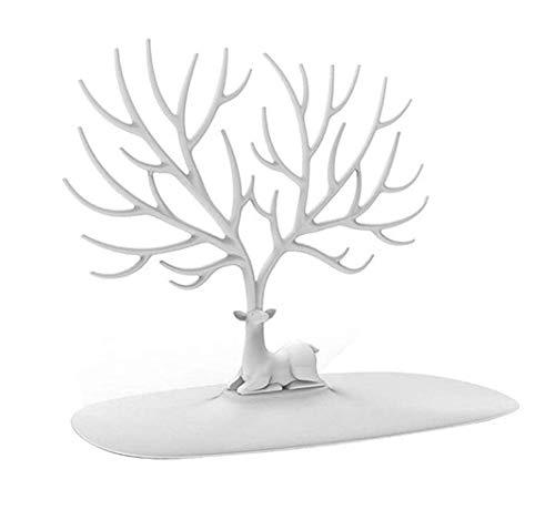 MoreLucky - Soporte de joyería para decoración de árbol de ciervos y cuernos, diseño de árbol, soporte para joyas, collar y pendientes