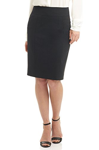 Rekucci Collection Women's Stretch Wool Pencil Skirt with Back Zip Detail (16,Charcoal)