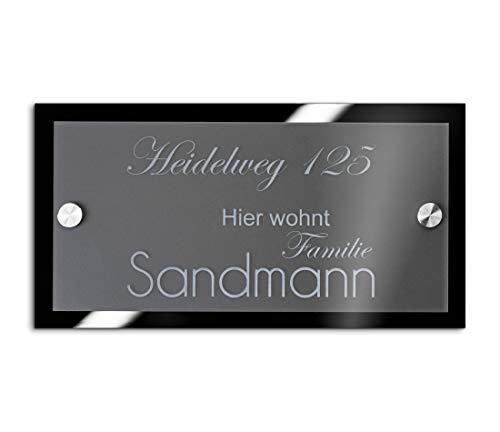 Hochwertiges Namensschild Hausnummer mit Gravur aus Acrylglas 21x10 cm mit über 80 Motiven Türschild für die Haustür mit Namen Haustürschild Familienschild Haus Garten
