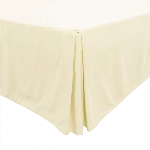 PiccoCasa Pleated Bed Skirt Classic Tailored Styling Dust Ruffled Hotel Quality, 14 Inch - King Pale Yellow