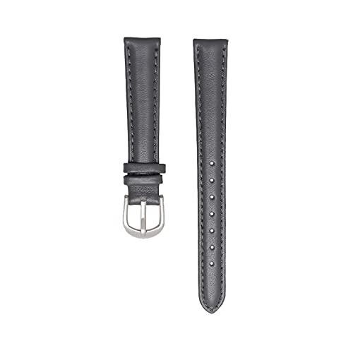 Correa de cuero 14/16/18/20mm banda de reloj suave simple correa de reloj, Gris plata de la hebilla, 18mm