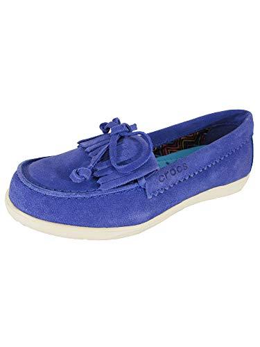 CROC Womens Adela Suede Moc Slip On Loafer Shoes, Cerulean Blue/Stucco, US 7