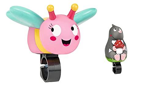 moses. Krabbelkäfer Fahrradhupe Schmetterling für Kinder, Hupe für Kinderfahrrad, Dreirad oder Laufrad, Zum Drücken und Loshupen, Einfache Montage mit Verstellbarer Befestigung