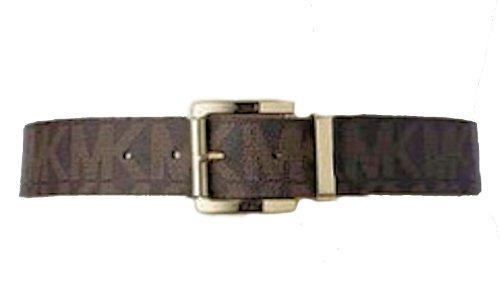Michael Kors Women's 553143 MK Monogram Belt, Chocolate w Gold Buckle, Brown, Medium
