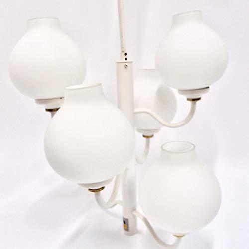 Hängelampe Opalglas weiß Messing 60er Vintage Pendelleuchte Glaslampenschirme