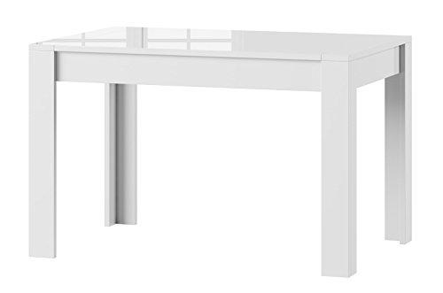 Furniture24 Tisch SYRIUS Küchentisch Esszimmertisch Esstisch ausziehbar bis 190 cm !!! (weiß Hochglanz)