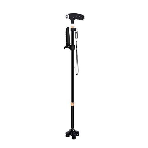 YWYW Muletas telescópicas de cuatro patas de aleación de aluminio para ancianos, ligero, multifuncional, ligero, antideslizante