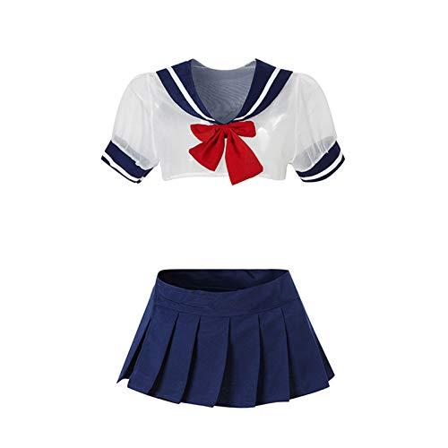 Bfrdollf Traje de Doncella de Anime Vestido de Anime francés Japonés Sexy Lencería Colegiala Uniforme Lindo Sailor Traje Trajes Maid Cosplay (Color : Blue, Size : One Size)