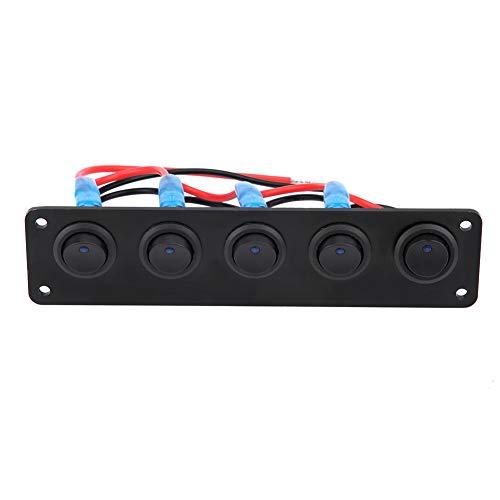 Panel de interruptores de palanca de 5 unidades, con panel de interruptores de coche con tornillo de acero inoxidable, remolques para caravanas
