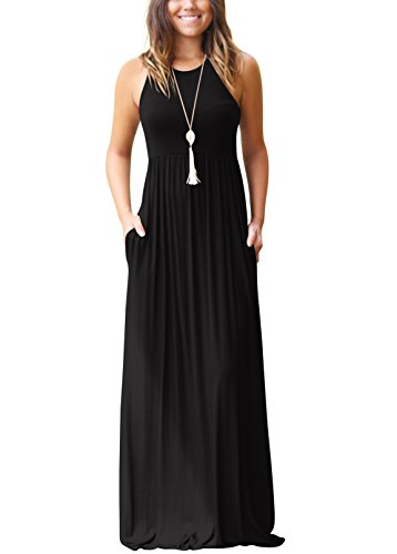SVALIY Summer Womens Sleeveless Tunic Causal Long Maxi Beach Dresses with Pockets Black M