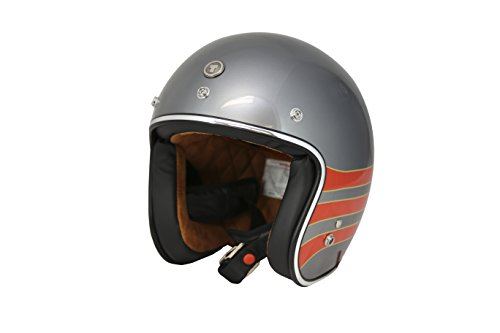 TORC T50 Route 66 3/4 Open Face Helmet with 'Fastlane' Graphic (Metallic Wine, X-Large)