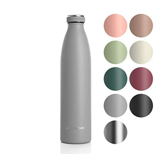 LARS NYSØM Edelstahl 1 Liter Trinkflasche | BPA-freie Isolierflasche 1000ml | Auslaufsichere Wasserflasche für Sport, Fahrrad, Hund, Baby, Kinder (1000ml, Cool Grey)